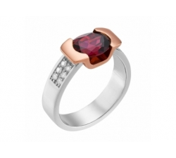 Bague en or blanc et rose, rodholite et diamants