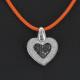 Pendentif Coeur diamants blancs et noirs 1.10 carat