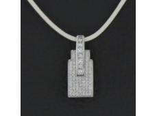 Pendentif or blanc et diamants 0.83 carat
