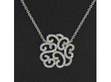 Collier Arabesque or blanc et diamants