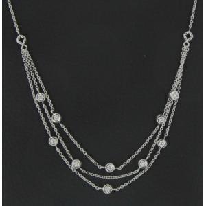 Collier or blanc et diamants - 1 carat