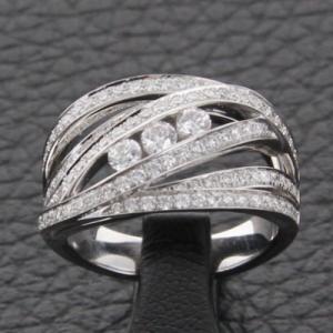 Bague or blanc et diamants - 0.95 carat