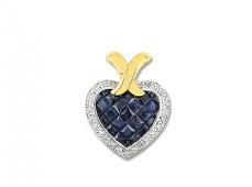 Pendentif coeur or, saphirs et diamants