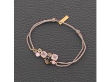 Bracelet cordon quartz rose et quartz fumé