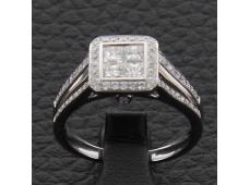 Bague or blanc et diamants 0.89 carat