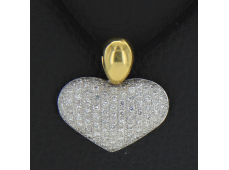 Pendentif coeur or et diamants 1.3 carat