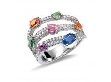 Bagues - Diamants et saphirs multicolors