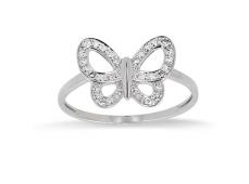 """Bague """"Papillon"""" or blanc et Diamants"""