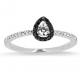 Solitaire or blanc avec Diamants noirs et blancs