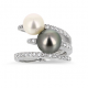 "Bague ""Duo de perles""  en or blanc et Diamants"