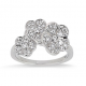 "Bague ""Trio floral"" or blanc et Diamants"