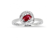 Bague Rubis et Diamants en or blanc