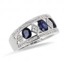 Bague 3 Saphirs et diamants