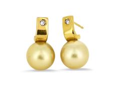 Boucles d'oreilles en or jaune, Diamants et perle gold