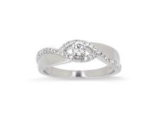 Solitaire accompagné en or blanc et Diamants