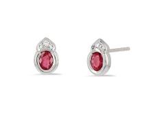 Boucles d'oreilles Rubis et Diamants en or blanc
