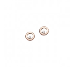 Boucles d'oreilles, diamants, or rose