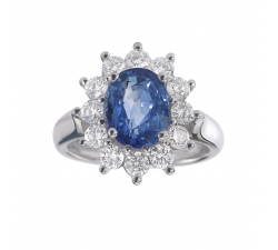 Bague - Diamants, saphir de Ceylan, or blanc