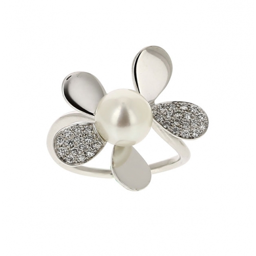Bague - Perle de culture, or blanc