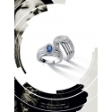 Bague - Diamants, Saphir et or blanc