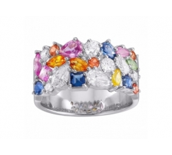 Bague Multicolores et diamants