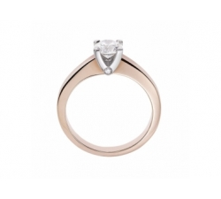 Solitaire diamant en or rose et blanc