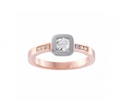 Bague en or blanc, or rose et diamant