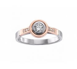 Bague en or rose, or blanc et diamant