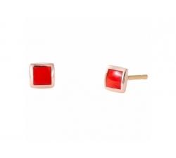 Boucles d'oreilles en or rose et résine nacrée rouge