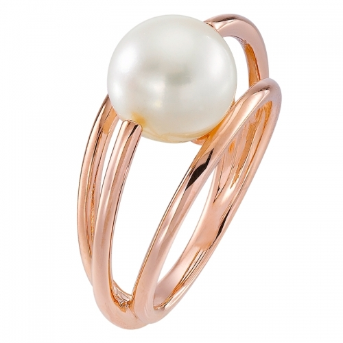 Bague en or rose et perle