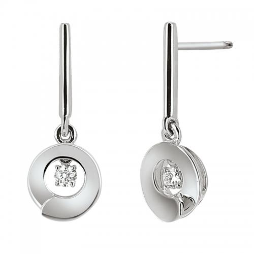 Boucles d'oreilles - Diamants, or blanc