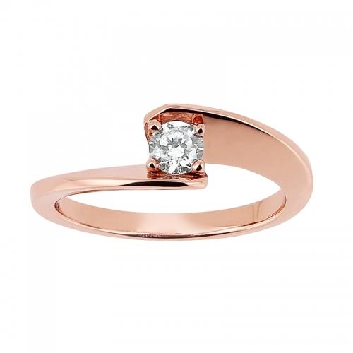 Solitaire «Envol» - Diamant, or rose