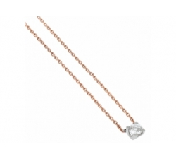 Collier diamants 0,50 carat, or rose, or blanc