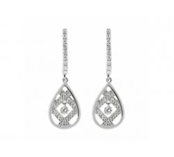 Boucles d'oreilles – Diamants, or blanc