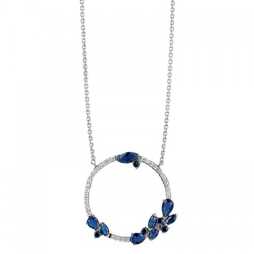 Collier – Diamants, saphirs, or blanc