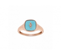 Bague – Diamant, turquoise, or rose