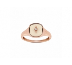 Bague – Diamant, os de mammouth, or rose