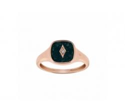 Bague – Diamant, jade noire, or rose