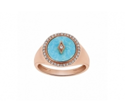 Bague – Diamants, turquoise, or rose
