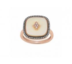 Bague – Diamants bruns, diamants, os de mammouth, or rose