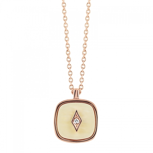 Collier - Diamant, os de mammouth, or rose