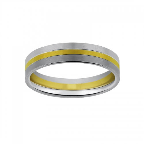 Alliance homme en or blanc