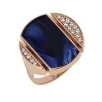 Bague Athena - Diamants, résine nacrée bleu de Prusse, or rose