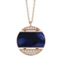 Collier Athena - Diamants, résine nacrée bleu de Prusse, or rose