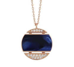 Collier Athena - Diamants, résine nacrée bleu de Prusse, or rose