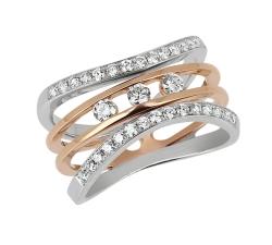 Bague - Diamants,  or rose, or blanc