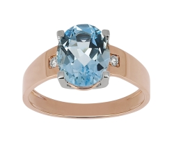 Bague - Diamants, topaze bleue, or rose, or blanc