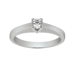Solitaire - Diamant, 0,20 carat, or blanc