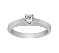 Solitaire - Diamant, 0,20 carat, or blanc