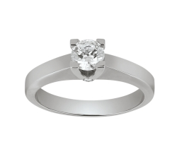 Solitaire - Diamant, 0,50 carat, or blanc